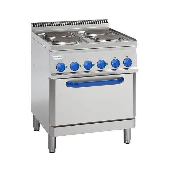 Kuchnia elekt. 4-płytowa z piek. elekt. I wentylatorem GN1/1 moc:15,4kW | Soda Pluss 460080077