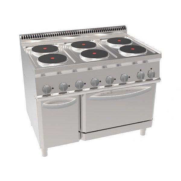 Kuchnia elekt 6-płytowa z piek elek i wentylatorem GN 1/1 moc: 20,6kW | Soda Pluss 460080079