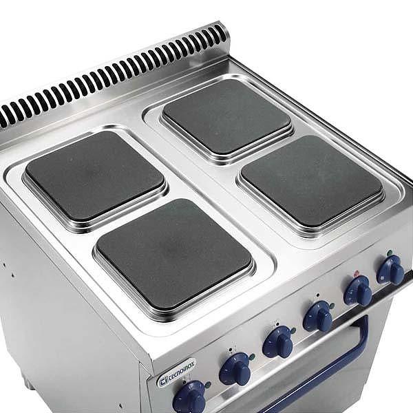Kuchnia elekt. 4-płytowa z piek. elekt. GN2/1 (kwadratowe) moc:15,1kW | Soda Pluss 460080082