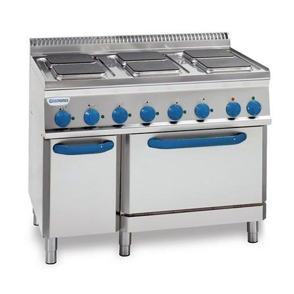 Kuchnia elekt 6-płytowa z piek elektGN 2/1 (kwadratowe) moc: 20,3kW | Soda Pluss 460080084