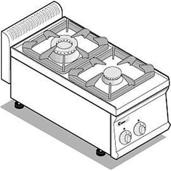 Kuchnia 2-palnikowa nastawna moc:10,5kW | Soda Pluss 460080018