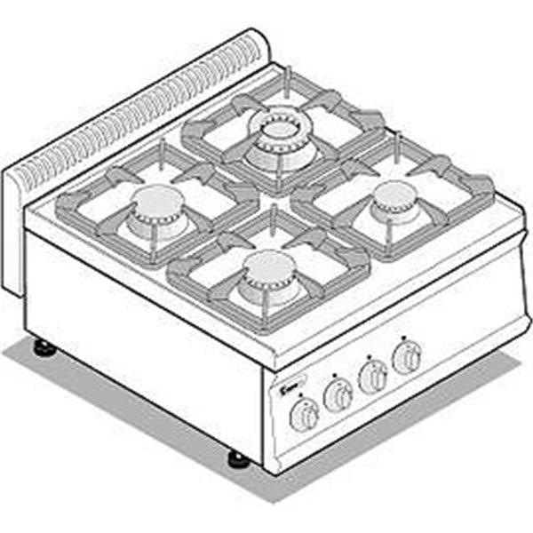 Kuchnia 4-palnikowa nastawna moc:19,5 kW | Soda Pluss 460080019