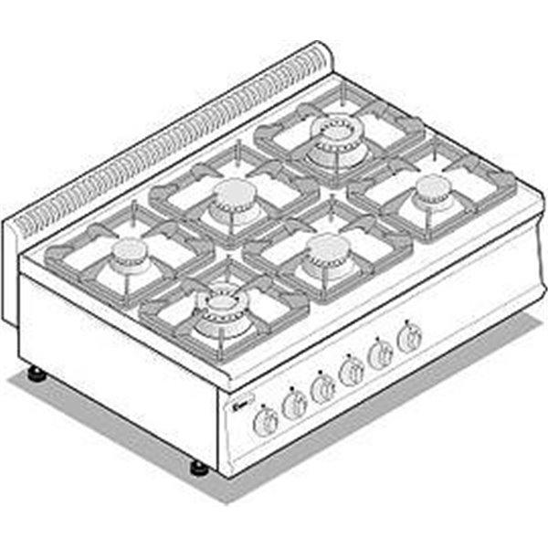 Kuchnia 6-palnikowa nastawna moc:30kW | Soda Pluss 460080020