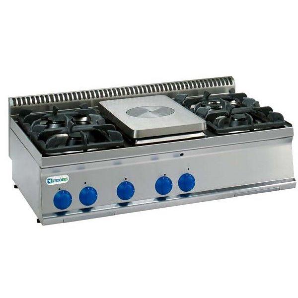Kuchnia 4-palnikowa z płytą gazową nastawna moc: 22,8 kW | Soda Pluss 460080022