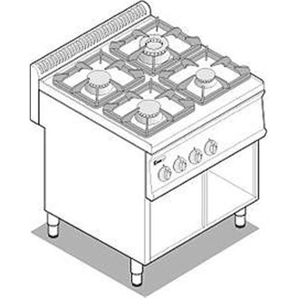 Kuchnia 4-palnikowa na podstawie moc:19,5 kW | Soda Pluss 460080024