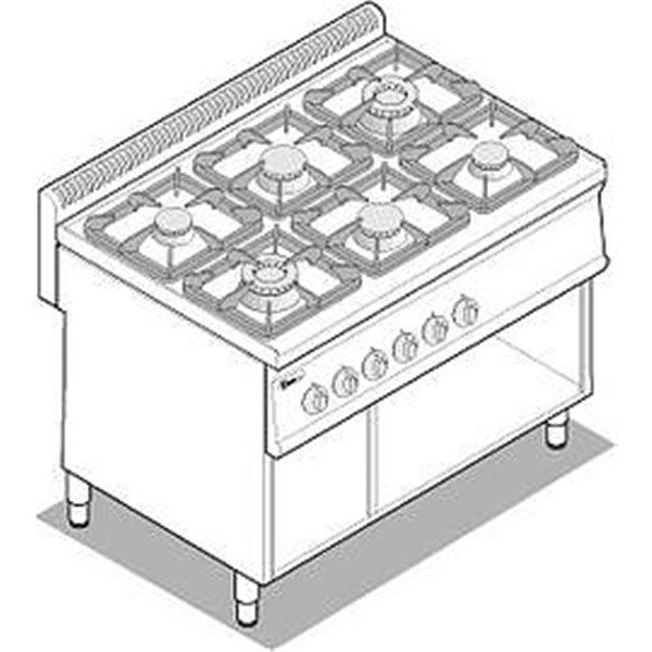 Kuchnia 6-palnikowa na podstawie moc:30kW | Soda Pluss 460080025