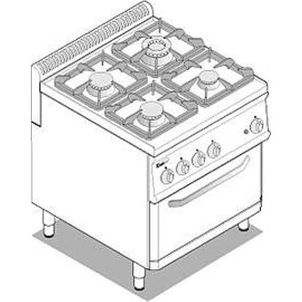 Kuchnia 4-palnikowa z piek. elek. moc: 19,5kW piek. 4,7kW GN2/1 | Soda Pluss 460080026