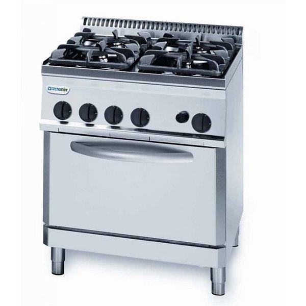 Kuchnia 4-palnikowa z piek. elek. moc: 19,5kW piek. 5,0kW GN1/1 | Soda Pluss 460080028