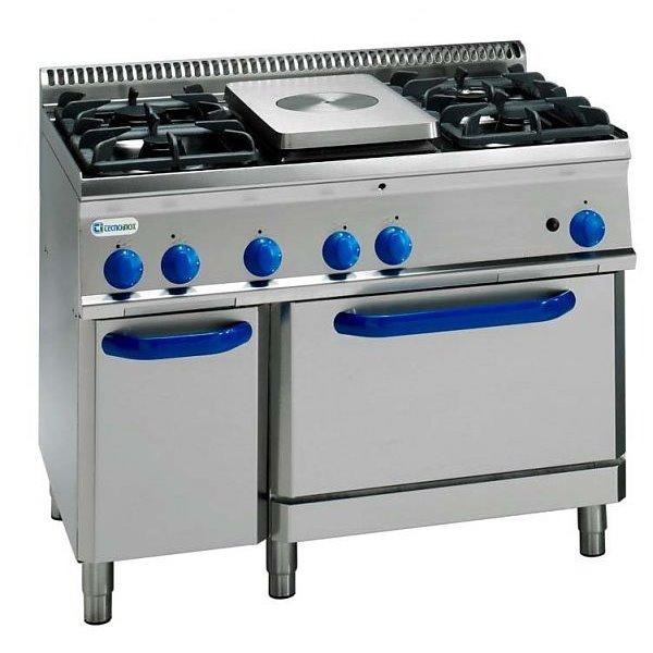 Kuchnia 4-palnikowa z płytą gazową i piek. gaz. GN2/1 moc: 29,8kW  | Soda Pluss 460080032