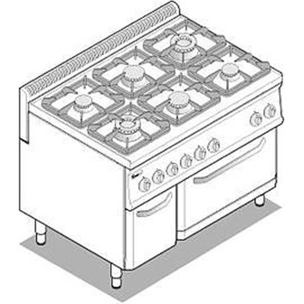 Kuchnia 6-palnikowa z piek. elekt. GN2/1 moc: 30kW, piek. 4,7kW  | Soda Pluss 460080036