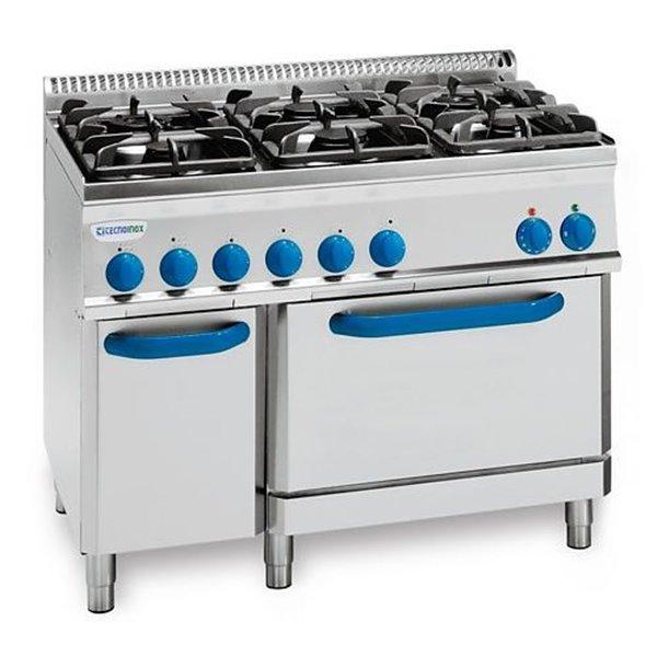 Kuchnia 6-palnikowa z piekarnikiem elek. moc: 30kW, pierk. 5kW | Soda Pluss 460080044