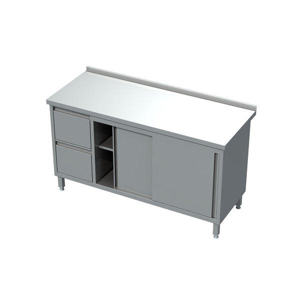 Stół-szafka drzwi suwane z blokiem 2 szuflad eko 04 24 1400X700X850   Plastmet