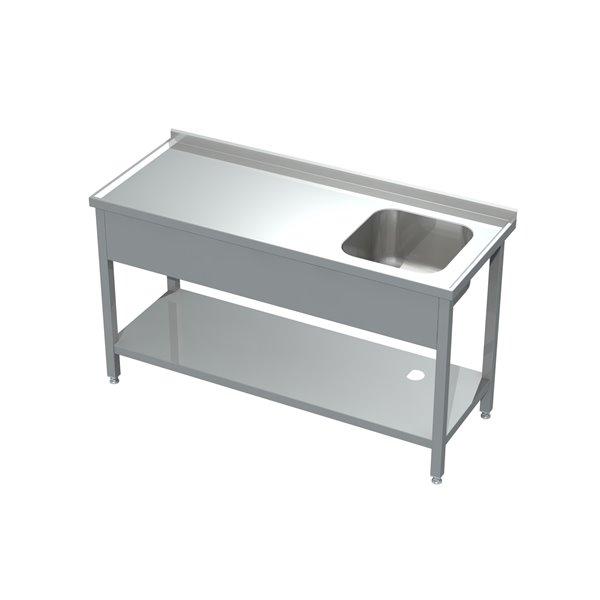 Stół ze zlewem i półką  eko 05 02 1600X600X850 | Plastmet