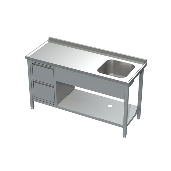 Stół ze zlewem, półką i blokiem 2 szuflad eko 05 17 1300X700X850 | Plastmet