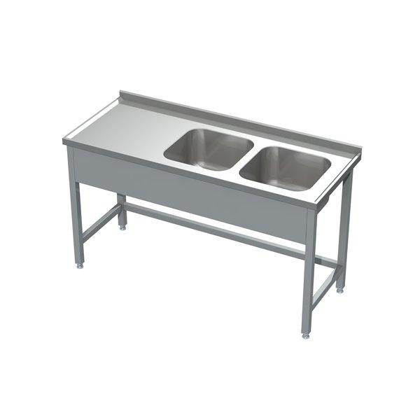 Stół ze zlewem 2-komorowym eko 05 06 1600X600X850 | Plastmet