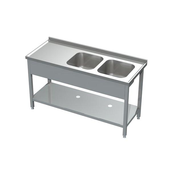 Stół ze zlewem 2-komorowym i półką eko 05 07 2200X600X850 | Plastmet