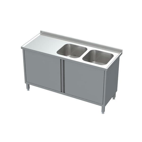 Stół-szafka drzwi otwierane ze zlewem 2-komorowym eko 05 09 1300X600X850 | Plastmet