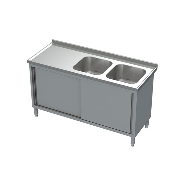Stół-szafka drzwi suwane ze zlewem 2-komorowym eko 05 10 1300X600X850 | Plastmet