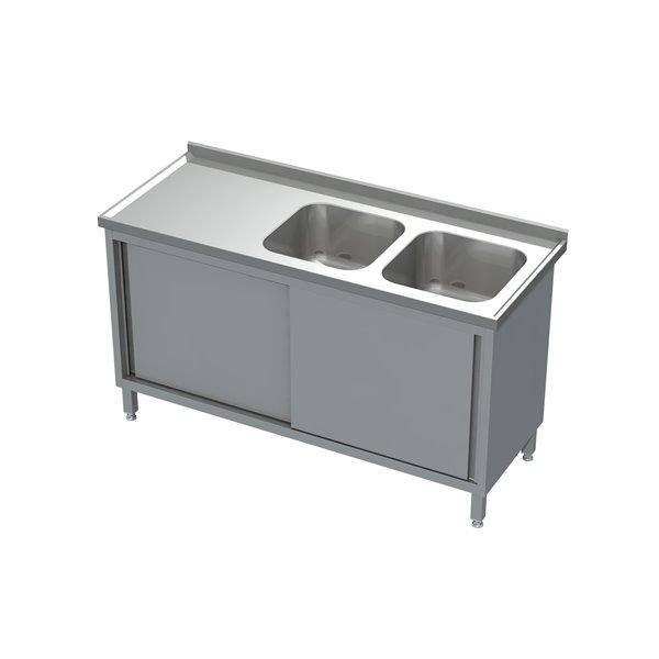 Stół-szafka drzwi suwane ze zlewem 2-komorowym eko 05 10 1400X700X850 | Plastmet