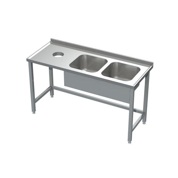 Stół ze zlewem 2-komorowym i otworem na odpadki eko 05 20 1600X600X850 | Plastmet