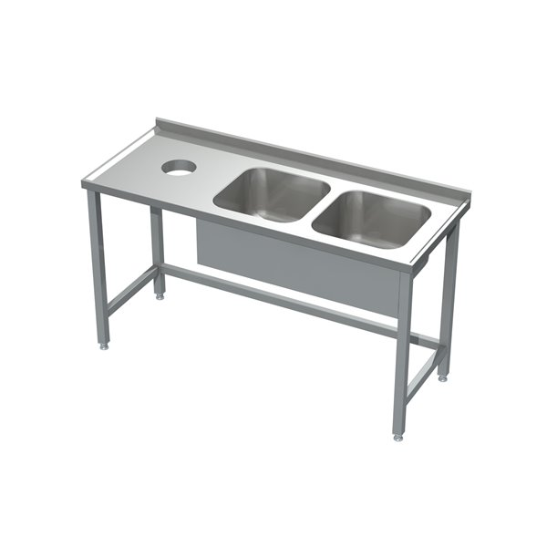 Stół ze zlewem 2-komorowym i otworem na odpadki eko 05 20 1900X700X850 | Plastmet