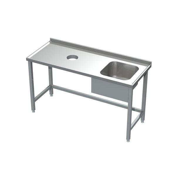 Stół ze zlewem i otworem na odpadki eko 05 12 1600X600X850 | Plastmet