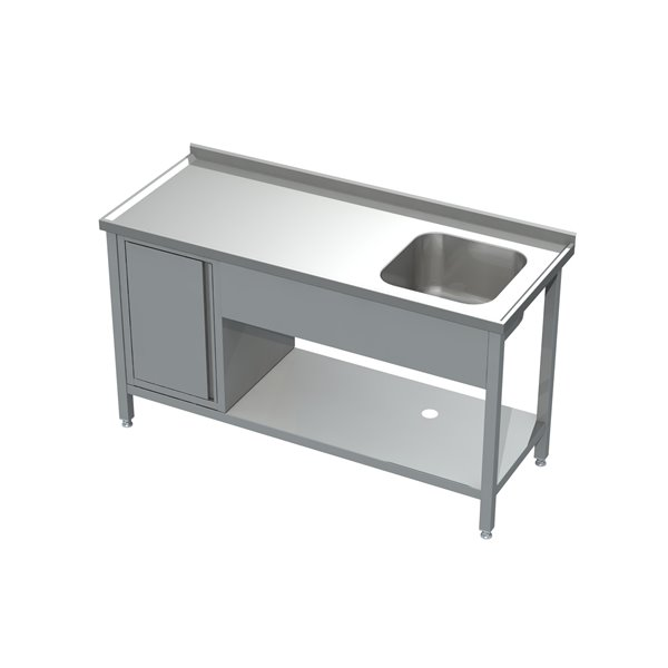Stół ze zlewem, półką i szafką  eko 05 16 1600X700X850 | Plastmet