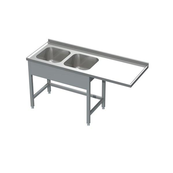 Stół ze zlewem 2-komorowym i miejscem na zmywarkę  eko 05 21 2100X600X850 | Plastmet