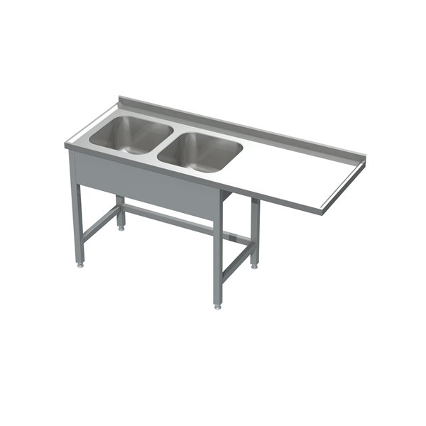 Stół ze zlewem 2-komorowym i miejscem na zmywarkę  eko 05 21 2100X700X850   Plastmet