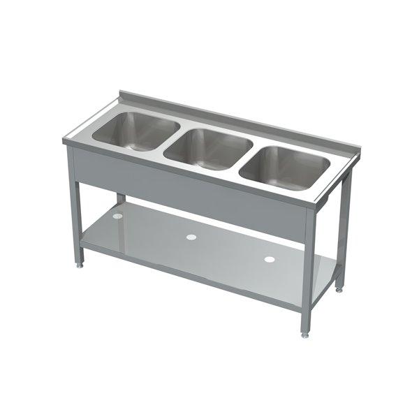 Stół ze zlewem 3-komorowym i półką eko 05 31 1500X700X850 | Plastmet