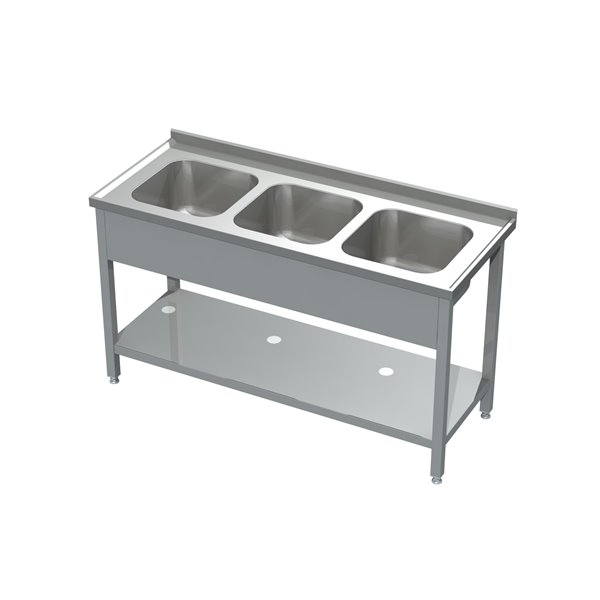 Stół ze zlewem 3-komorowym i półką eko 05 31 1600X600X850 | Plastmet